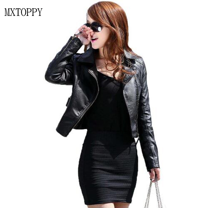 2018 Spring Vintage PU Leather Jacket Women Slim Biker Motorcycle Soft Outwear Faux Leather Zipper Jackets Spring Ladies Coats