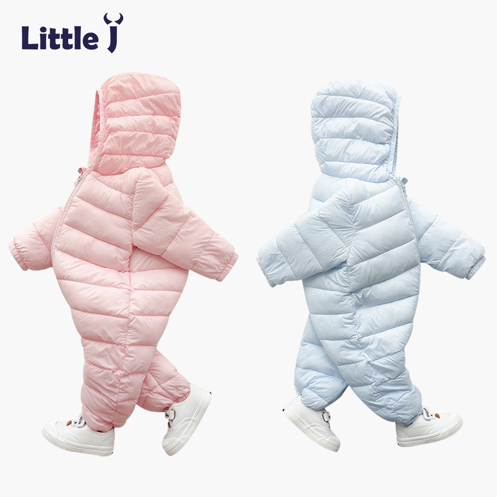 bbd341c65d50 Little J Warm thicken Winter Baby Romper Hooded Infant Kids Jumpsuit ...