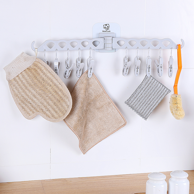 050 Fashion home useful Wall hanging type rotary dual rod 10 clips clothes hanger Socks clip rack storage hook 48 14cm in Hooks Rails from Home Garden
