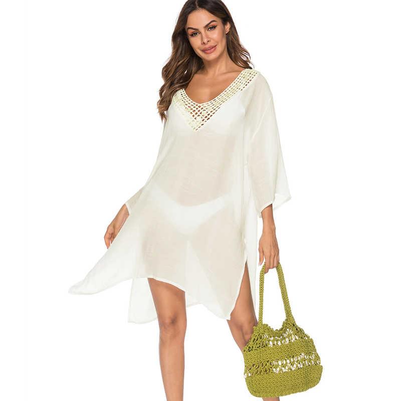 Сексуальное женское бикини, цельное, v-образный вырез с выемкой, раздельная накидка De Plage 2019, повседневные свободные накидки на купальник, пляжное платье, белое