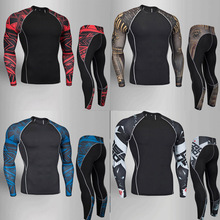 цена на Running Clothing Men Gym Training Quick-drying Tights shirt Sweatpants Union Suit Jogging Suits Men Compression Clothing S-4XL