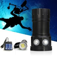 Tinhofire Diving 80M Underwater XHP70 XHP90 / L2 Photography Video White Red Blue LED Photo Fill light Flashlight 18650 Battery
