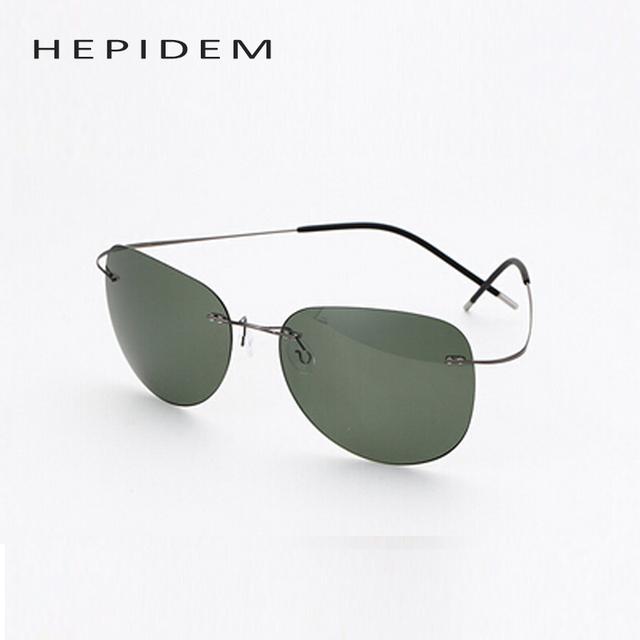 Com o logotipo titanium armação sem aro óculos polarizados óculos de sol espelhar homens óculos de sol designer de óculos de sol do esporte super leve silhouett