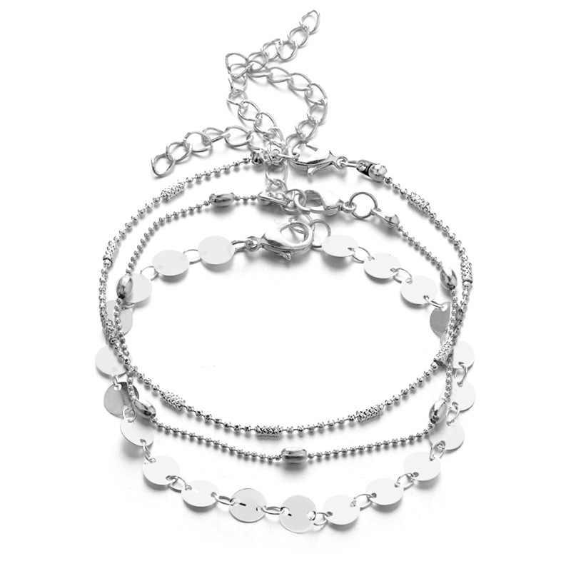 Miss JQ nowy kobiety cekiny obrączki moda wielowarstwowy złoty łańcuszek okrągłe obrączki bransoletki dla kobiet urok plaża stóp biżuteria