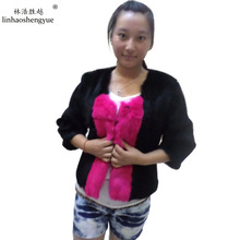 Linhaoshengyue 2014 rabbit skin double color fur coat