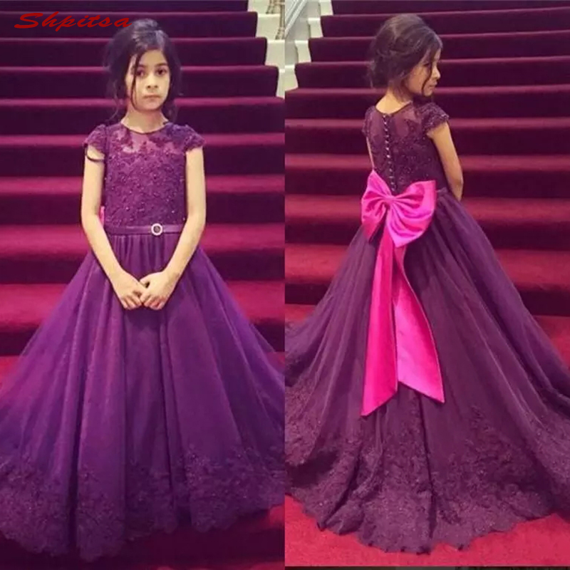 Purple Lace   Flower     Girl     Dresses   for Weddings Evening First Communion Pageant   Dresses   for Wedding   Girls   Kid