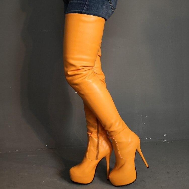 Sexy Heißer Frauen Yifsion Oberschenkel Orange 15 High Kleid 5 Heels D1206 Stiletto Runde Stiefel Kappe Uns Größe Plus Hohe Plattform Schuhe B5wYYdqC