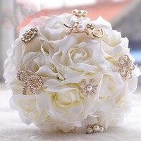 Ramo de mariage cristalino magnífico de perlas artificiales ramos de novia blanco rosa artificial flores de la boda ramos de novia