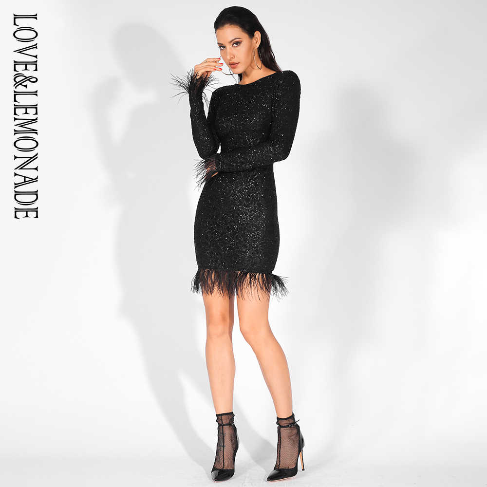 b68e85fca25 ... Love Lemonade Sexy Feathers Low Back Glitter Glue Long Sleeve Bodycon  Dress LM81520 BLACK ...