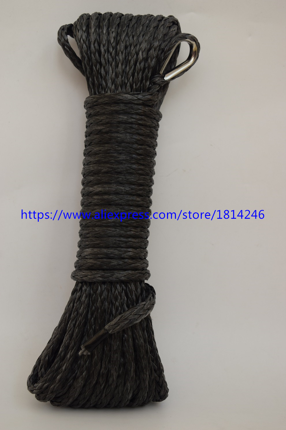 Black 5mm*15m Synthetic Winch Rope,ATV Winch Line,Off Road Rope 4500lbs for Winch Accessaries,Plasma Rope