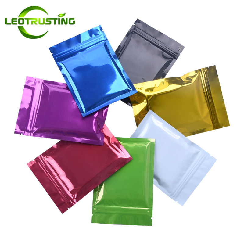 Leotrusting 100pcs 7 Colors Glossy Aluminum Foil Ziplock Bag Flat Bottom Shiny Foil Packaging Bag Sample Pouch Powder Gift Bags