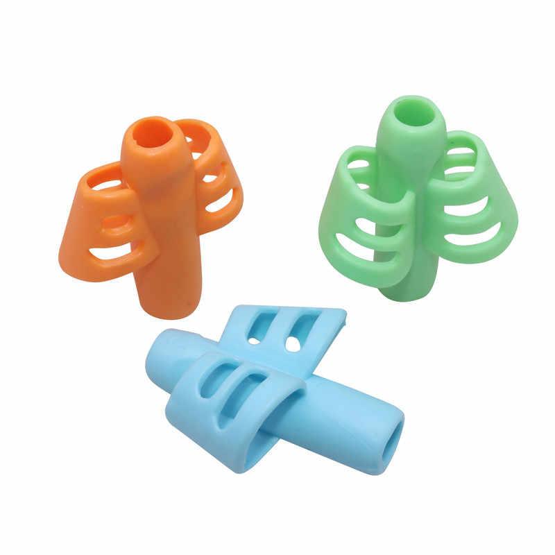 Dois-dedo aperto silicone bebê aprendizagem escrita ferramenta caneta dispositivo de correção de escrita crianças papelaria presente 4 pçs