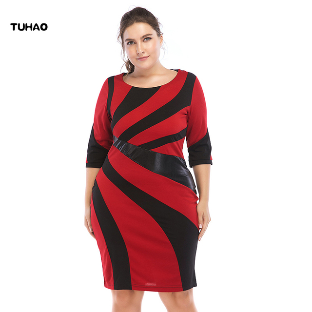 2019 Autumn Women Office Lady Pencil Dress PU Patchwork Plus Size 6XL 5XL 4XL Woman Work Elegant Vintage Dress Female CRM