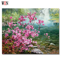 WEEN Flower Pictures By Numbers Kits Acrylic On Canvas DIY Digital Waterfall Oil Painting Wall Pictures