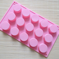Supplier of cylindrical Circular 15 even chocolate handmade soap molds silicone cake mold