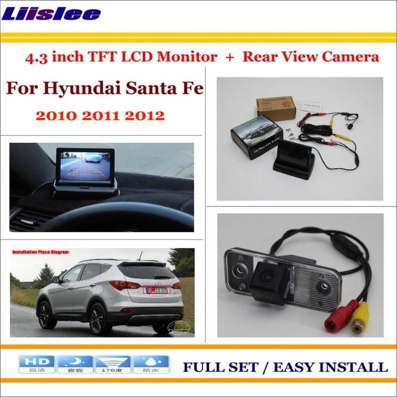 Liislee For Hyundai Santa Fe 2010 2011 2012 Car 4.3 Color LCD Monitor + Car Rear Back Up Camera = 2 in 1 Park Parking System up window wind deflector visor rain sun guard vent for hyundai santa fe 2013 2014 car styling