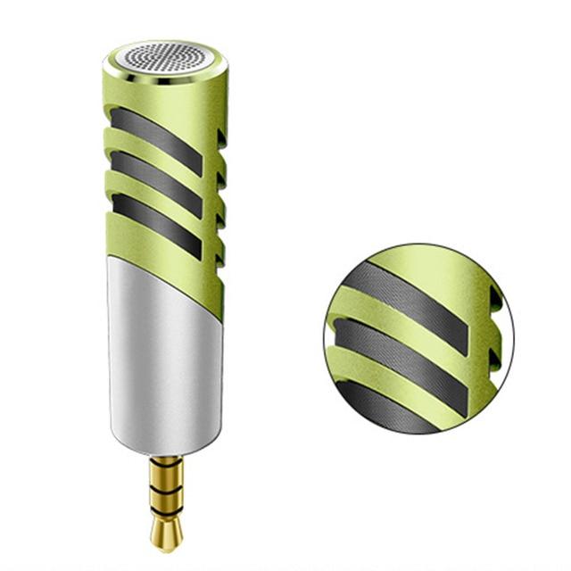 Professional Mic Super small size rotatable R1 Mini Condenser Microphone Mobile Phone Microfone Record for talk recording Green