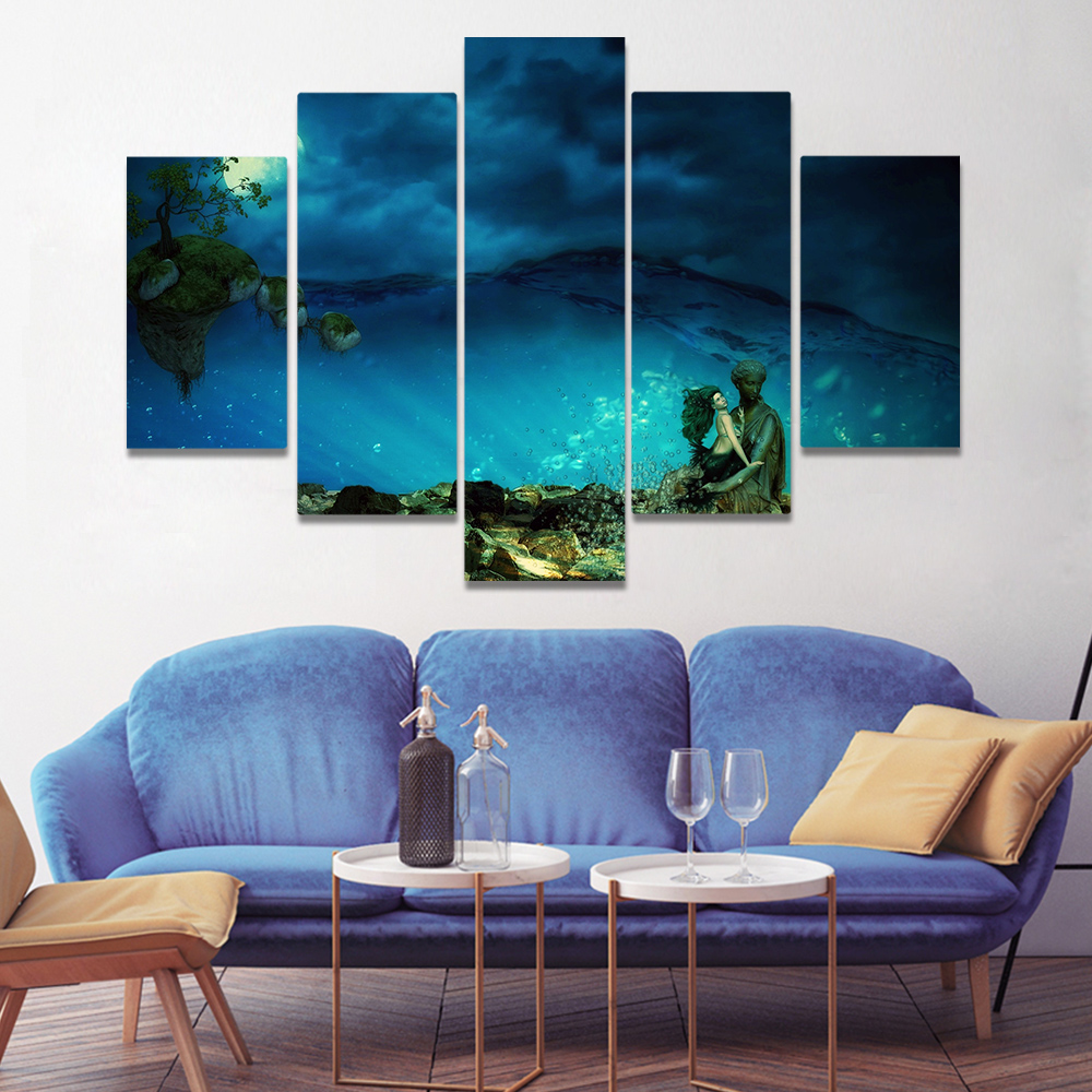 Unframed Canvas Painting Mermaid Deep Sea Statue Fish Art Picture Prints Wall Picture For Living Room Wall Art Decoration