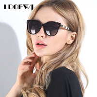 LDOFWJ Fashion Shield Cat Eye Sunglasses Women Polarized HD Lens Glasses Hot Sale Frame Inset Pearl