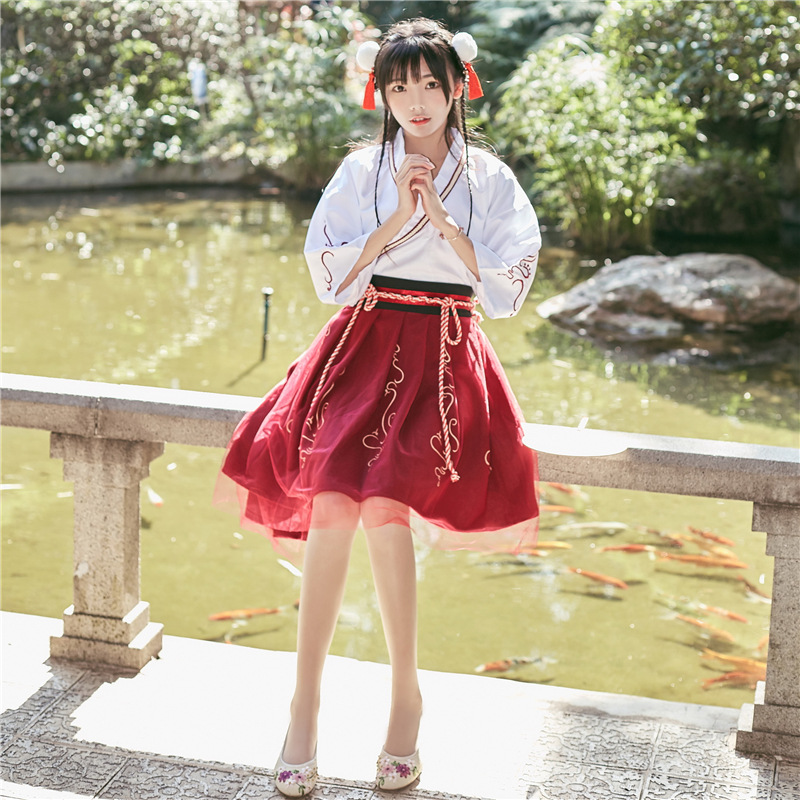 Summer Woman Japanese Traditional Dress Embroidery Ancient Fashion Kimono Girls Japanese Style Clothes Outfits Lace Up Skirt 4
