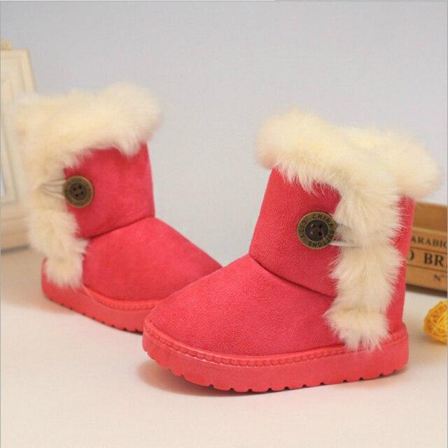 Зимняя обувь для маленьких мальчиков и девочек, новые модные зимние сапоги, теплая хлопковая Толстая обувь с пряжкой на ремешке, детская одежда