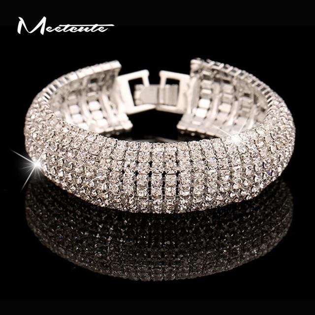 0fbbd931d Meetcute Luxury Brand Design Glitter Full Rhinestone Bracelet Top Fashion  Wide Bangles Women Simple Style Cubic