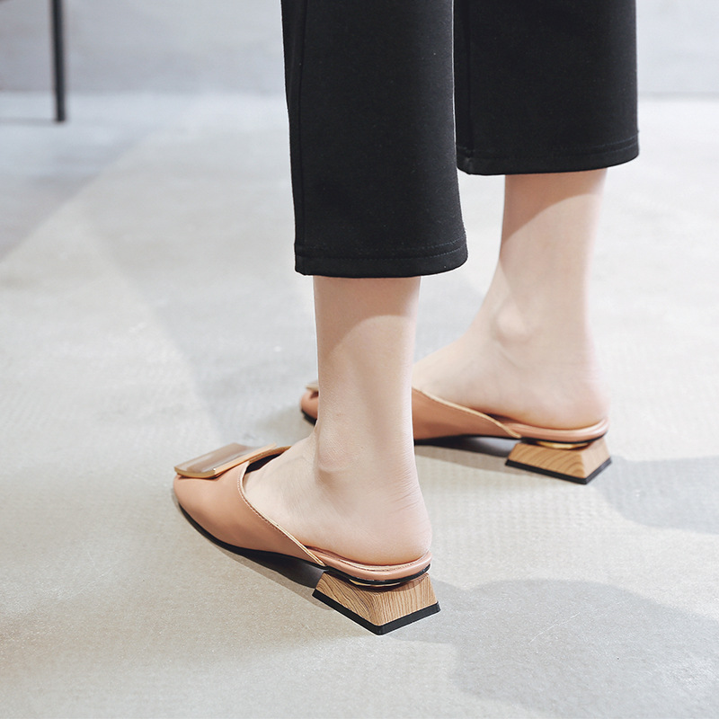 KATELVADI Women Pumps 3CM Heels Mules Shoes Buckles Decoration Black PU Square Toe Slippers Summer Shoes Big Size 34 43 K 419 in Slippers from Shoes