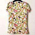 Mujeres Camiseta de verano de color de Lápiz Labial de impresión personalizada 210 de la señora Camiseta de manga corta