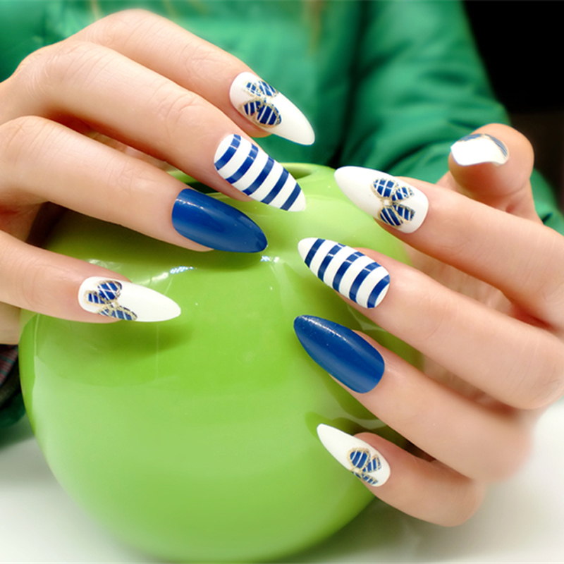 Hot 24pcs Stiletto Nails For Sale Blue and White Stripe Full Cover ...