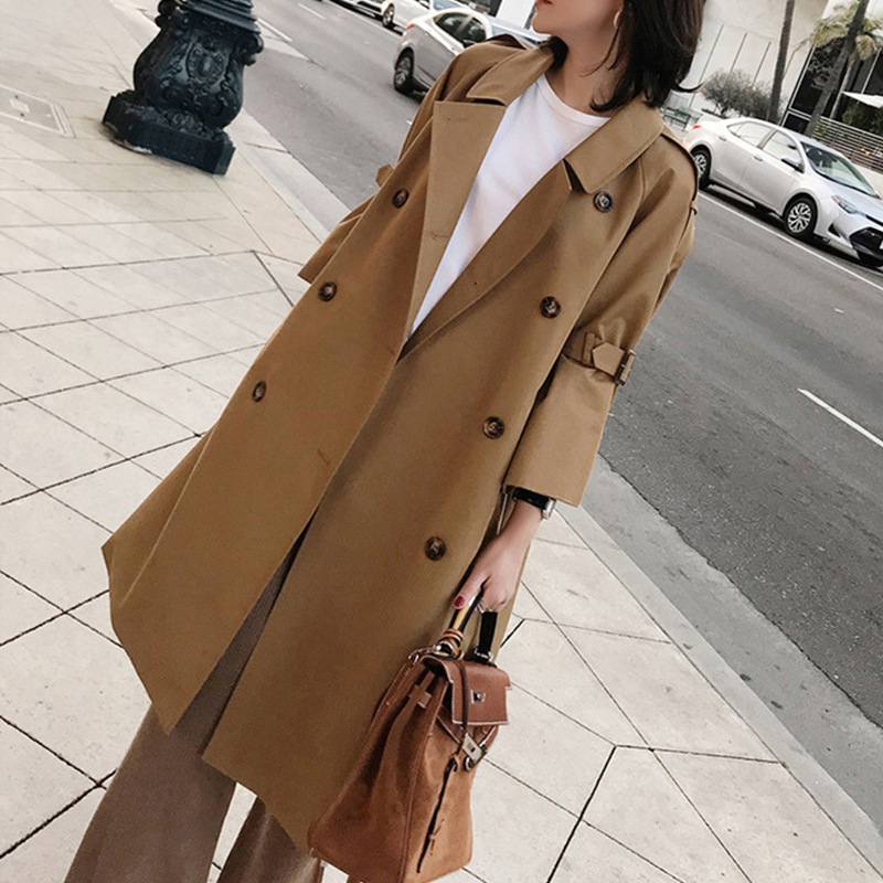 2019 Spring Autumn New Fashion Woman Classic Double Breasted Trench Coat Waterproof Raincoat Business Oversized 5XL