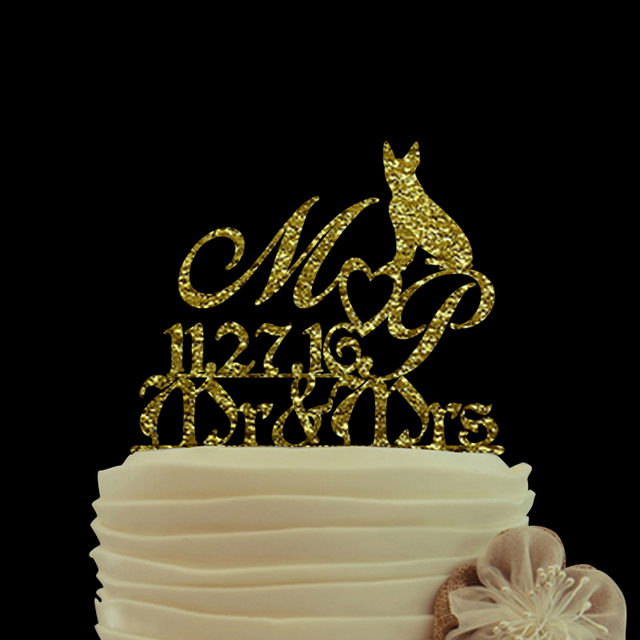 Aliexpress Com Buy Mr Mrs Wedding Cake Topper With Dog Design