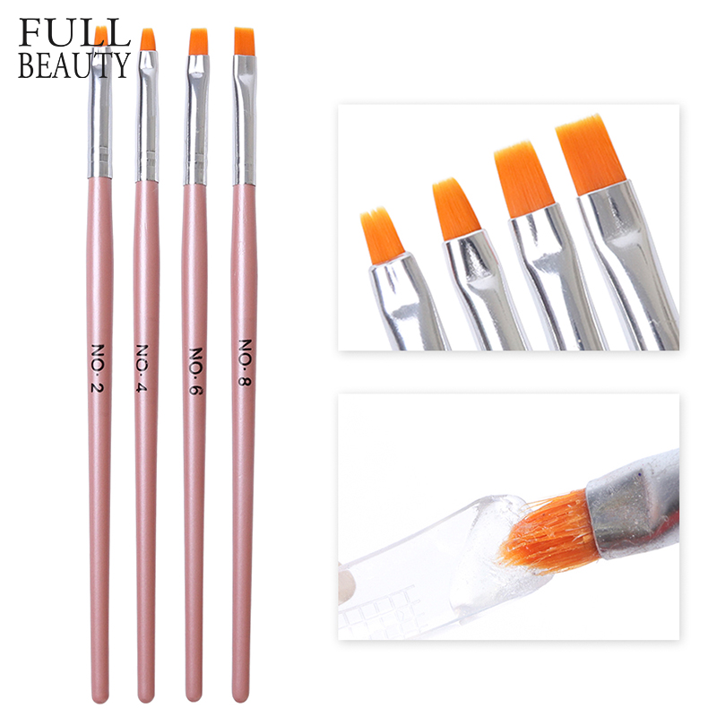 4pcs Nail Brush Builder UV Poly Gel Extension Building Tips #2/4/6/8 Nail Art Acrylic Pen Manicure Tools Pink Handle Set CHH023