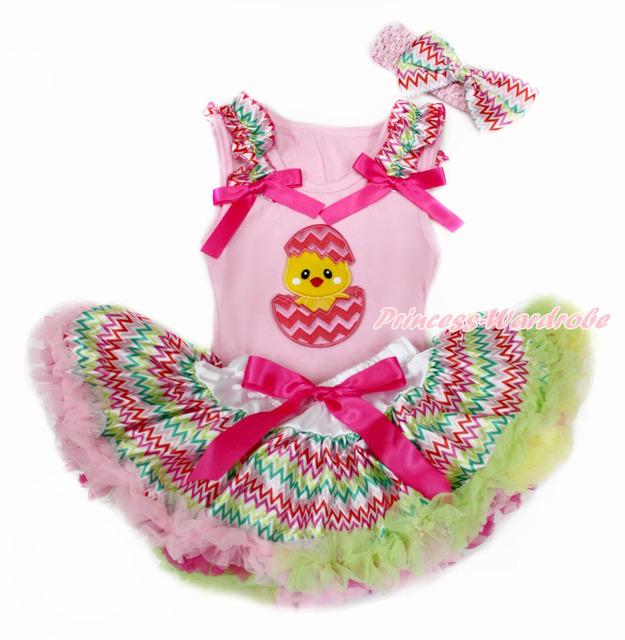 Pink pascua superior del bebé con arco iris de onda & Hot Pink con huevo de pollo y arco iris de onda recién nacido Pettiskirt con la venda MABG139