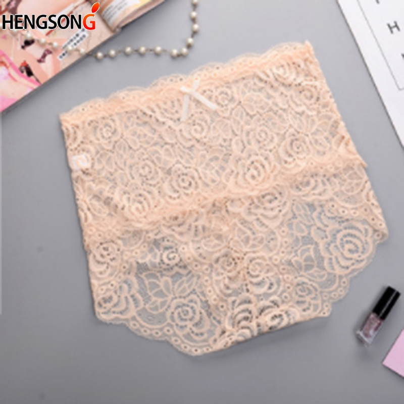 Sexy women hollow out lace Floral underwear high waist hips fashion girl female solid underwear