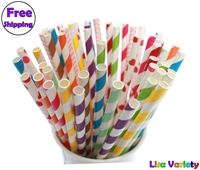 Free Shipping 300pcs Mixed Paper Drinking Straws Polka Dot Striped For Party