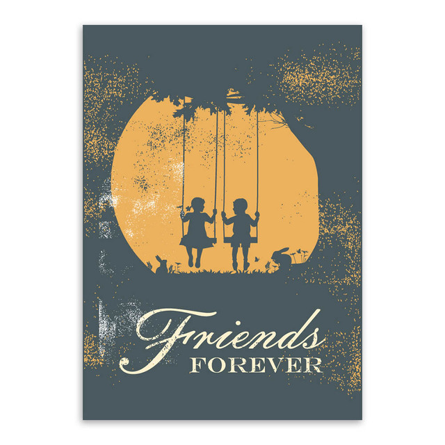 US $3.46 45% OFF|Vintage Retro Girl Boy Friendship Quotes A4 Art Print  Poster Wall Picture Living Room Canvas Painting Home Decor Gifts No  Frame-in ...