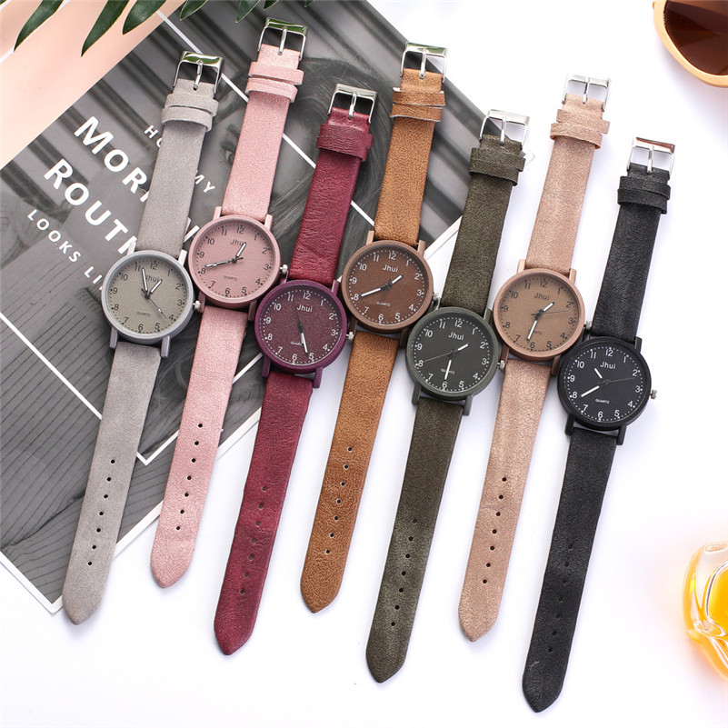 Watch Female Clock Leather-Band Quartz New-Strap Casual Simple Reloj Retro Multicolor