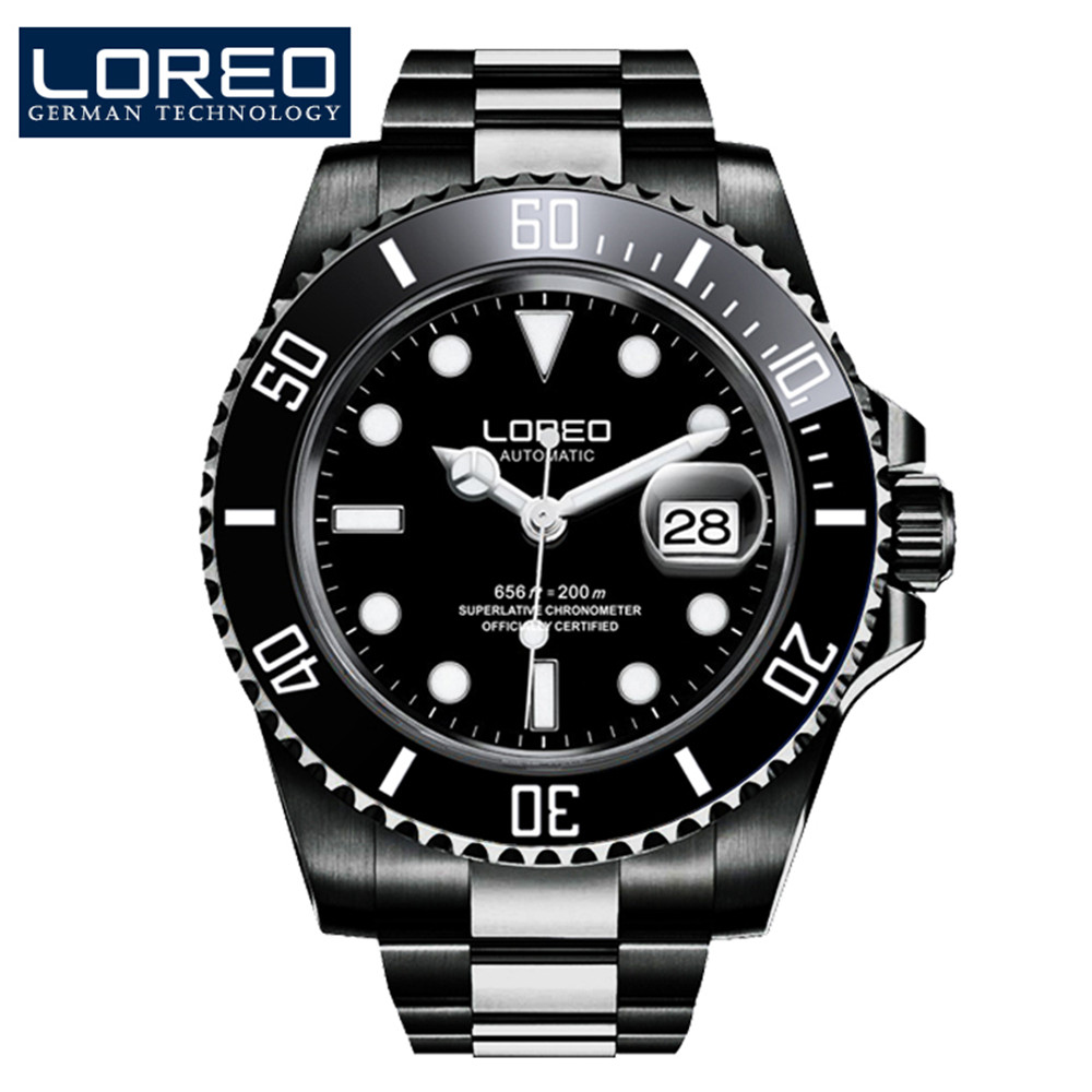LOREO Classic Design Watches Steel Brand Automatic Mechanical Watch Men Diver Watches 200M Waterproof Auto Date Luminous Watch