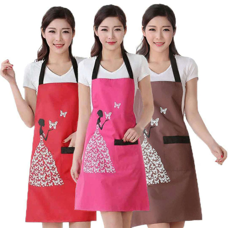 1Pcs Waterproof Polyester Apron Woman Adult Bibs Home Cooking Baking Coffee Shop Cleaning Aprons Kitchen Accessory 46212