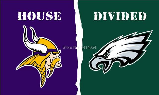 Minnesota Vikings Philadelphia Eagles House Divided flag NFL 3X5FT Banner  100D Polyester grommets custom flags 59afcea10