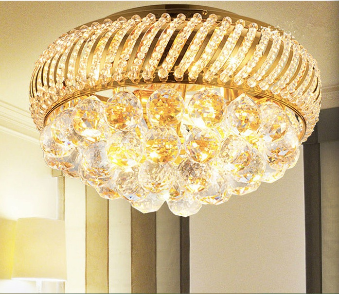 Free Shipping D350mm K9 Crystal Ceiling Light Fixture Gold Ceiling Light Lighting Lamp Flush Mount Guaranteed 100% AC free shipping high quality modern crystal ceiling lamp golden crystal ceiling lighting sy4062 4l d500mm ac 100