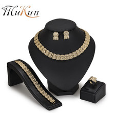 MUKUN African beads jewelry set Nigeria Dubai Gold Jewelry Sets For Women Wedding party Jewellery Set Bridal Costume Jewelery(China)