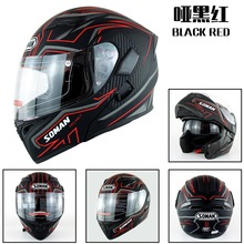 SOMAN 955 Double Visors Motorcycle Helmets Motorbike Cycling Capacete Racing Motorcycle Flip-Up Helmet Moto Casco DOT Approval