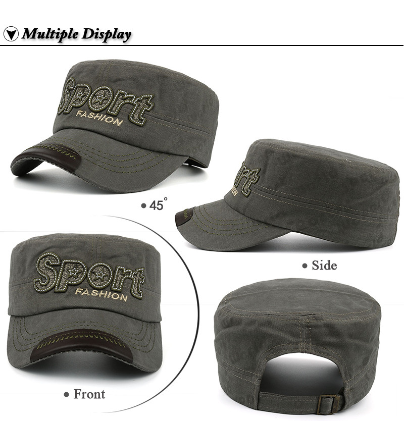 """Embroidered """"Sport"""" Milicap - Front, Side, Front Angle and Rear Views"""