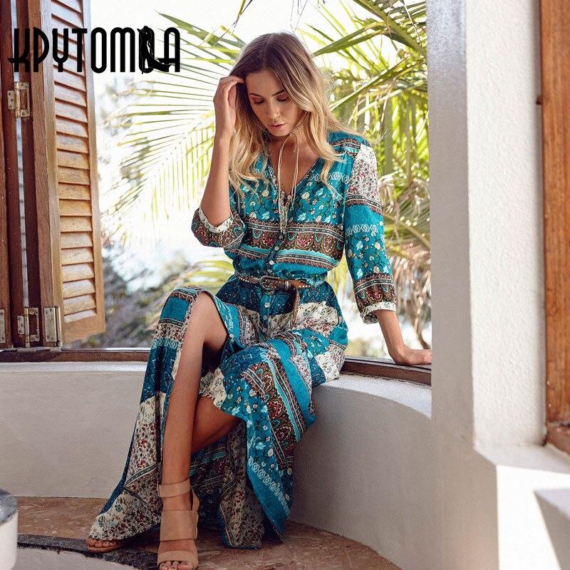 Boho Vintage Floral Print Maxi Long Dresses Women 2018 New Fashion V Neck Summer Beach Dress Robe Femme Vestidos Mujer Plus Size