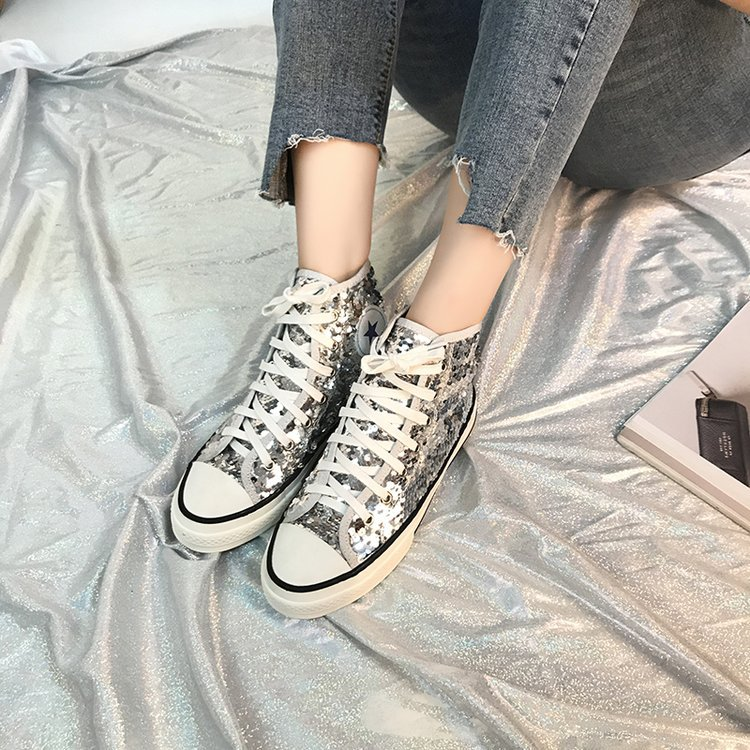 Tleni 2018 New High Top White Women Flats running Shoes Ladies Canvas Shoes lace-up Bling Bling sneaker shoes ZK-20 18