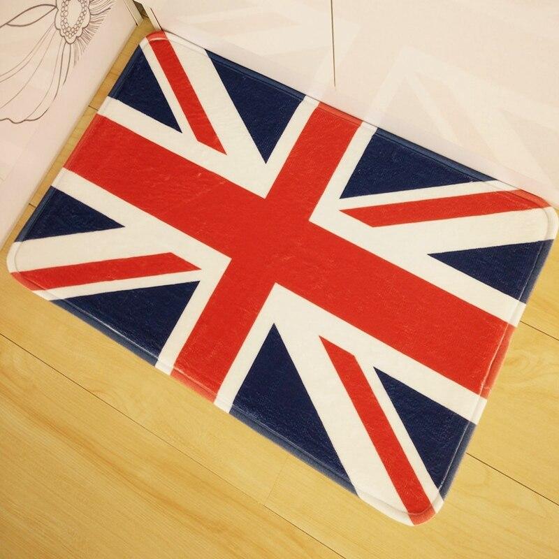 Design British Flag Print Front Door Mat 40x60cm Floor Carpet Coral Fleece  Rug Doormat For Hallway Outdoor Indoor Antiskid Rugs