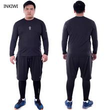 5X-6XL Large Men Long Sleeve Running Sets Quick Dry Basketball Gym Jogging Suit Compression Yoga Sport Fitness Set Sport Clothes цена и фото