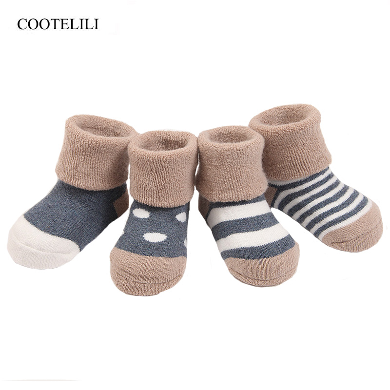 COOTELILI 4Pairs/Lot Winter Baby Girls Socks Kids Stuff Warm Thicken Cotton Baby Girl Clothes Striped Dot Children Socks 0-3Y
