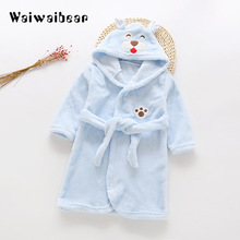 Cartoon Kids Robes Flannel Child Boys Girls Robes Lovely Animal Hooded Bath Robes Long-Sleeved Baby Boy Bathrobe Child Clothing